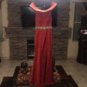 Red Off Shoulder Prom Dress Size 2